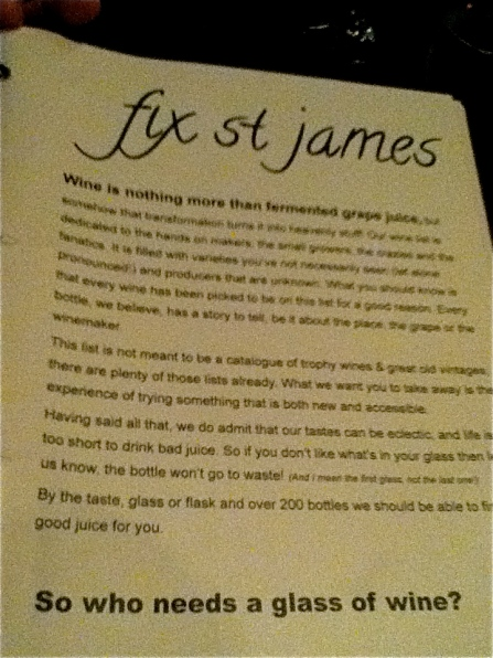 Fix St James - Wine List