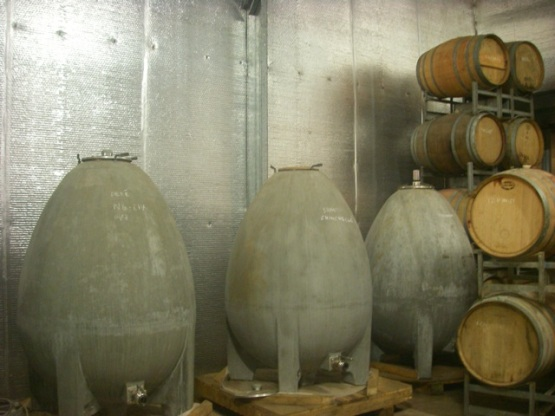 Concrete ferment eggs and barrels.