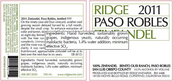 Ridge Vineyards Label