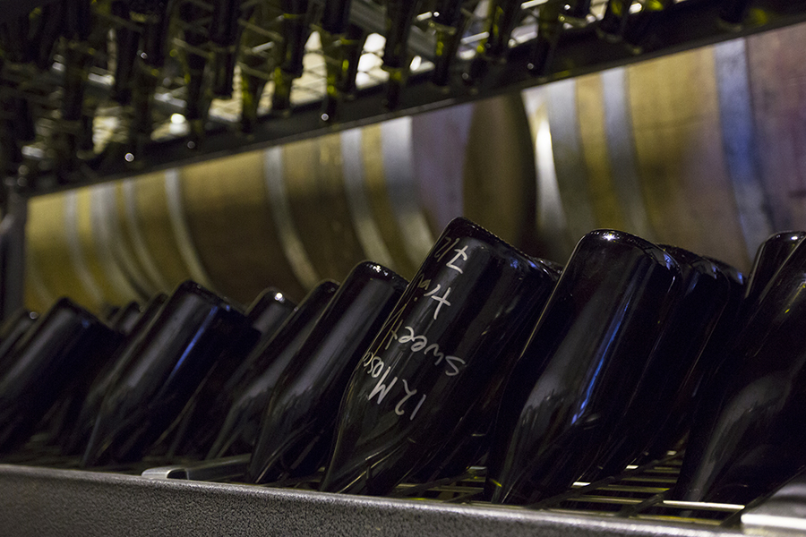 Riddling Moscato - photo courtesy of Quealy Wines